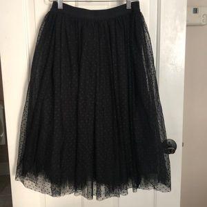 Black Swiss dot tulle skirt Sz S Ann Taylor